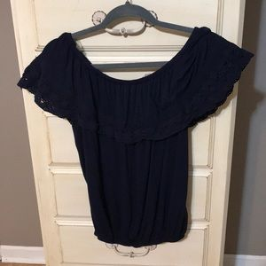 Navy off shoulder blouse